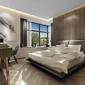 主卧床头背景墙使用了木色