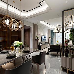 95㎡三居室现代混搭风格餐厅效果图
