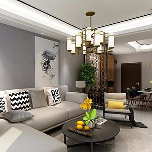 95㎡三居室现代混搭风格客餐厅效果图