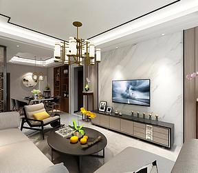 95㎡三居室现代混搭风格客厅效果图