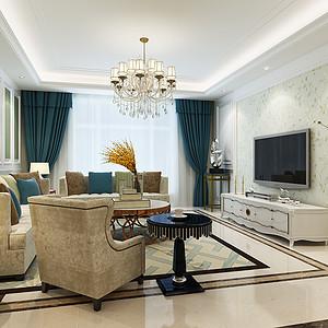 丽景蓝湾-三室两厅-新古典风格装修案例
