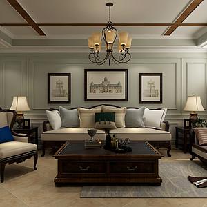荣鼎天下-三居室-美式风格