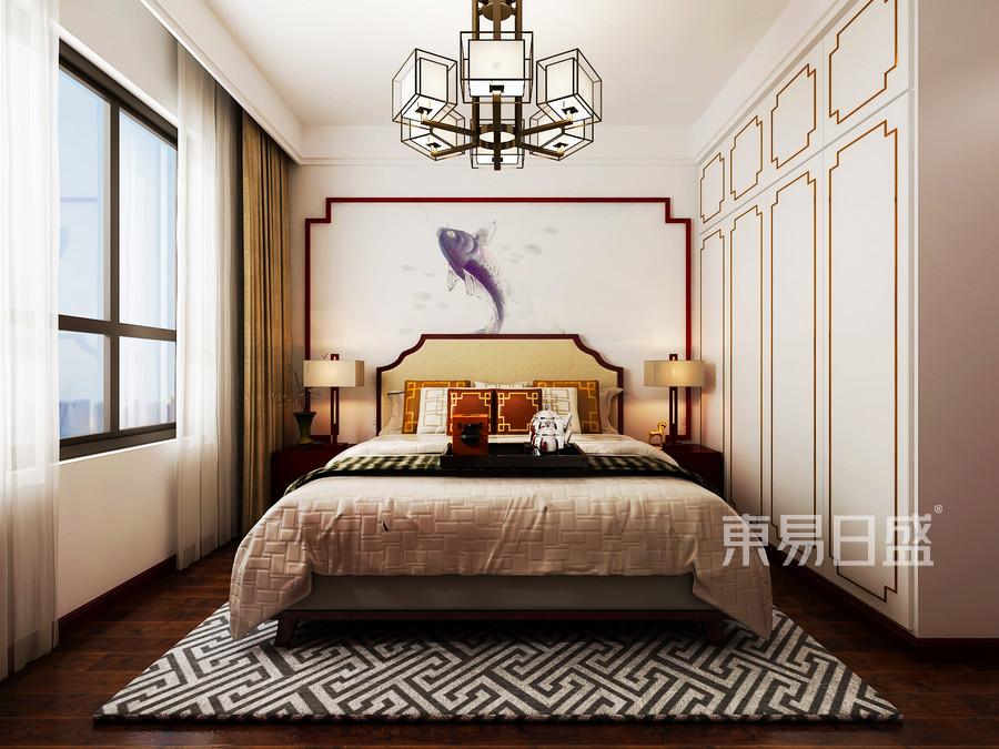 中正亲贤们140平三室两厅新中式风格卧室装修效果图@太原东易日盛