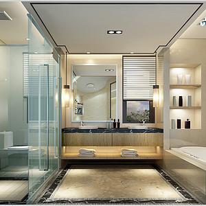十方别墅新中式风格卫生间效果图