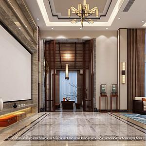 星河丹提-新中式风格-客厅装修效果图