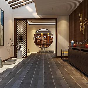 星河丹提-新中式风格-走廊装修效果图
