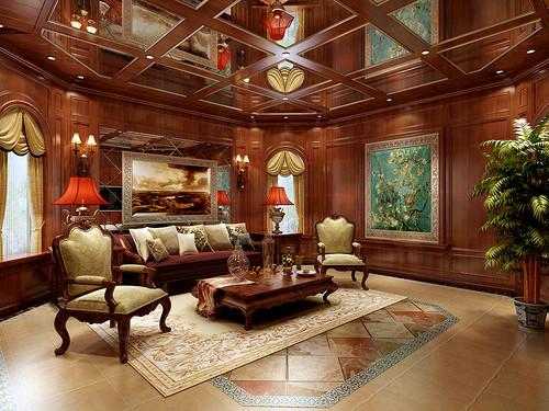 中海·城南官邸310㎡别墅美式风格装修效果图