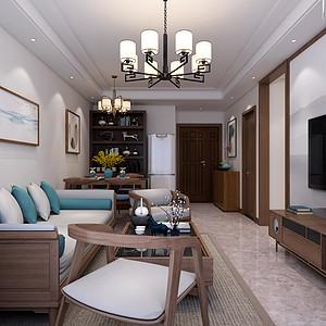 保定朝阳首府109平三室二厅新中式风格装修案例