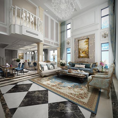塘厦万科朗润园装修效果图-760㎡简约美式别墅装修案例