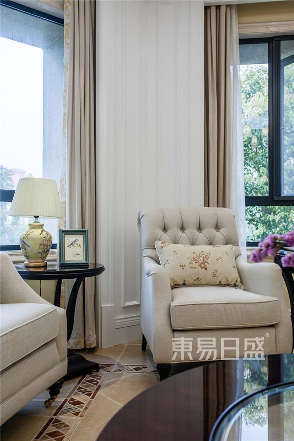 滨江首府180平美式乡村设计装修效果图-客厅