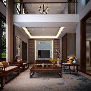 黄江金地湖山大境装修案例-320㎡别墅新中式风格装修效果图