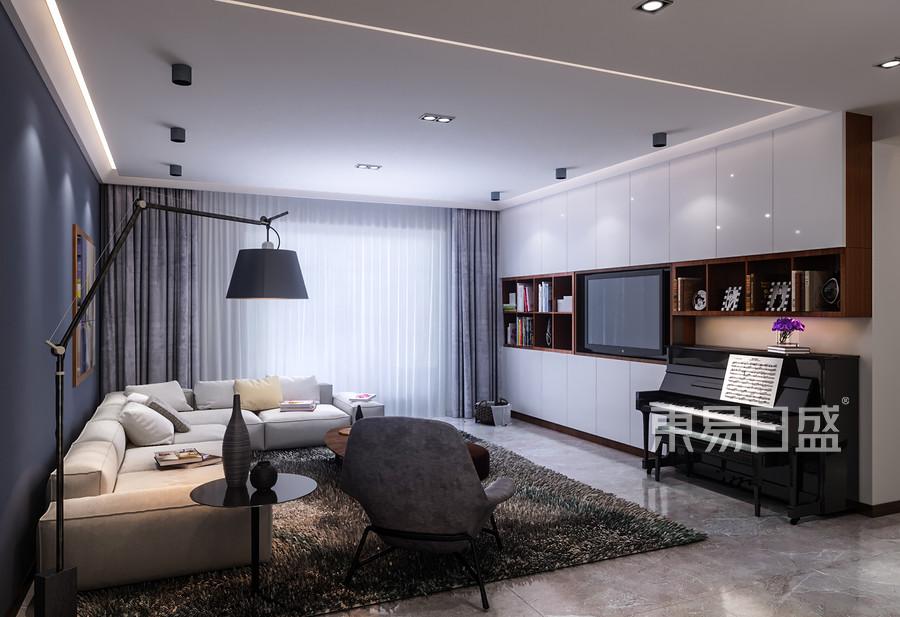 客厅装修效果图-后现代风格装饰设计效果图_2019装修