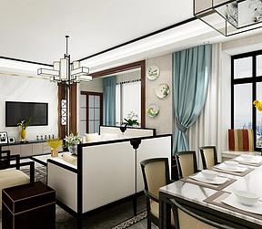 147㎡跃层新中式风格餐厅效果图