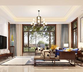 龙湖392平新中式风格别墅客厅