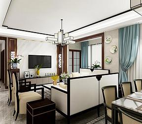 147㎡跃层新中式风格客餐厅效果图
