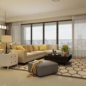 南城鼎峰源著装修效果图-222㎡简约欧式四居室装修案例