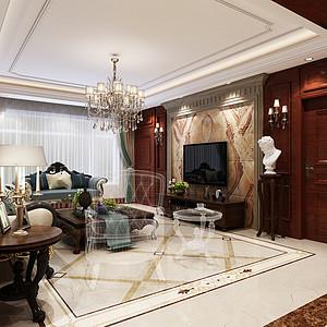曲阳上东城-四室二厅-美式古典风格装修案例