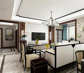 147㎡跃层新中式风格客厅效果图
