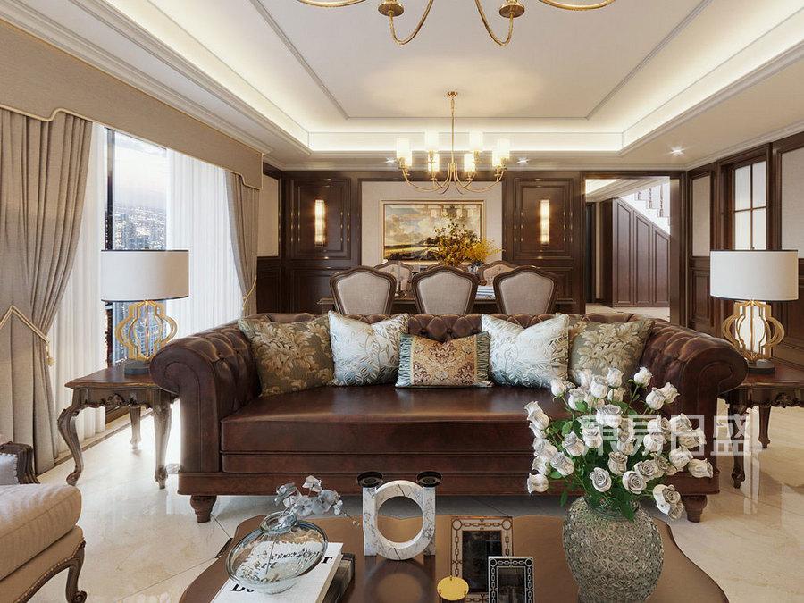 客厅美式风格装修实景图效果图_2020装修案例图片
