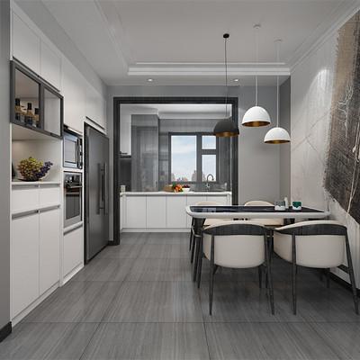 首开国风琅樾三居室现代简约餐厅装修效果图