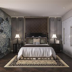 中信城市广场轻奢风格卧室装修效果图