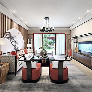 香山美墅-新中式风格-320㎡-别墅装修效果图