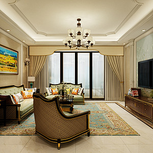 黄江金地湖山大境装修效果图-145㎡四房二厅简欧风格装修案例