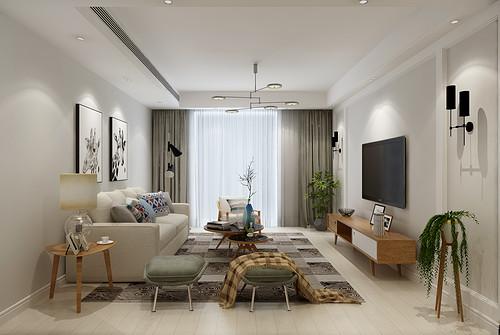 丽景蓝湾110平二室二厅北欧风格装修效果图