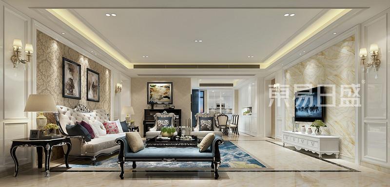 > 简欧风格别墅客厅装修效果图设计