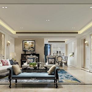 简欧风格别墅客厅装修效果图设计