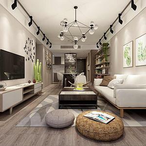 客厅造型简单,多以软装配饰体现效果