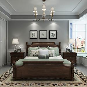 现代美式风格-卧室-装修效果图