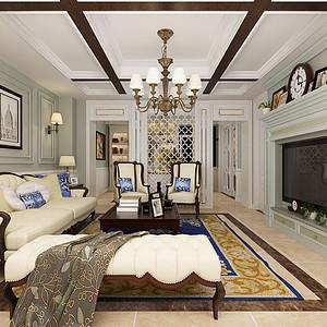 法式混搭风格-客厅-装修效果图