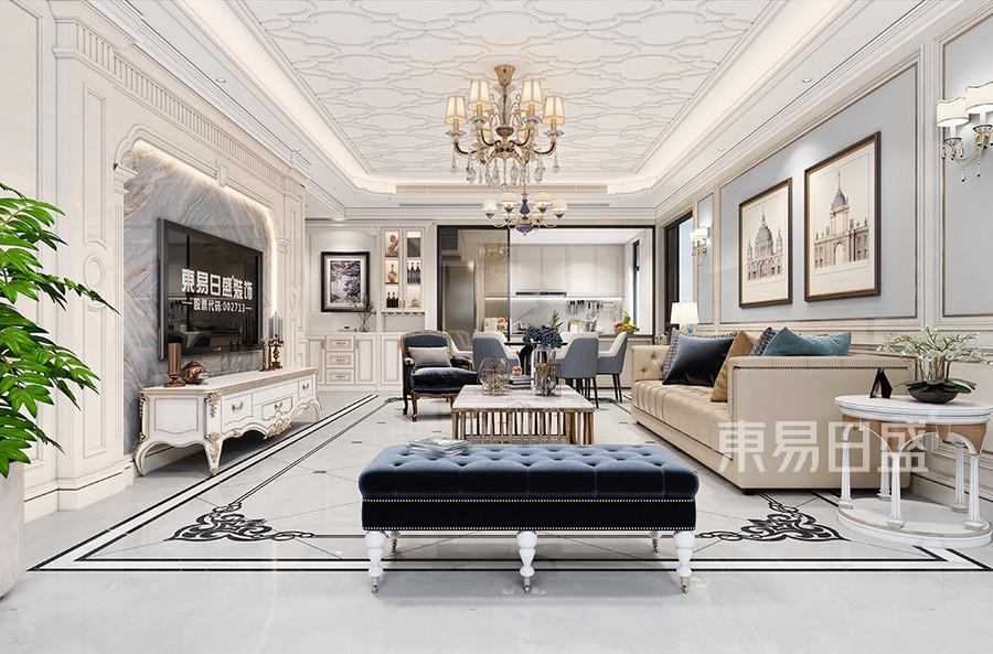 客廳-東城皇馬酈宮簡歐裝修效果圖