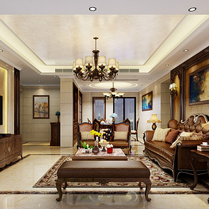 壹方中心玖誉装修 220平米 欧式古典风格装饰设计