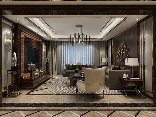 唐县东城国际200平四室二厅新古典风格装修效果图