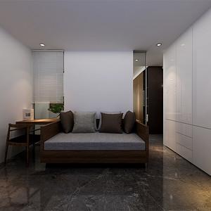 三居室-现代简约-客房-效果图