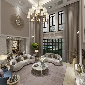 美林墅简约美式客厅装修效果图