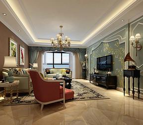 客厅四居室-美式乡村-效果图