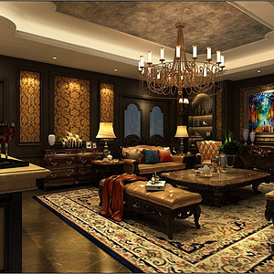 兴创屹墅  法式古典 客厅效果图