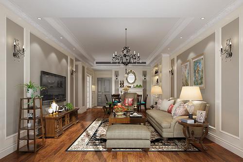 紫檀轩二期155㎡三居室现代美式风格