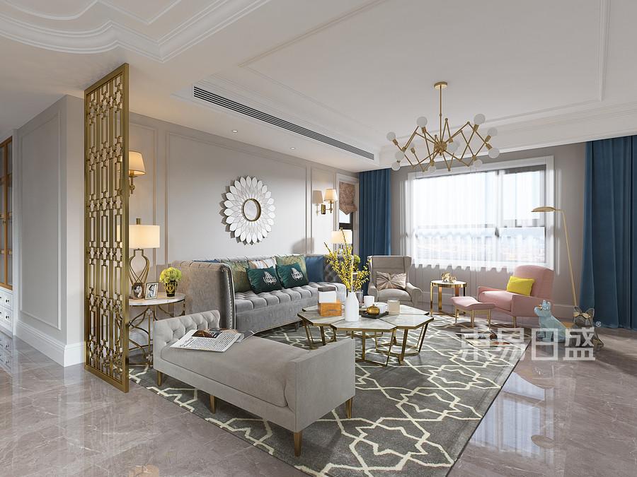 美式轻奢风格客厅装修设计