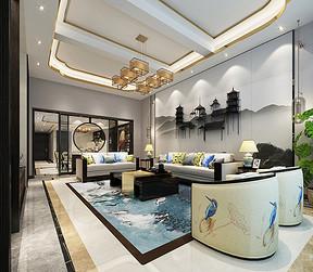 别墅客厅-新中式-装修效果图