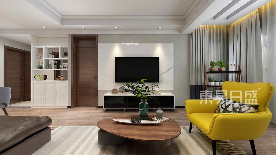 504家属院现代简约风格电视墙装修效果图