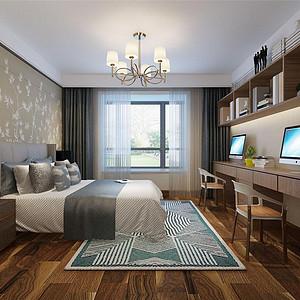 熙和园新中式风格主卧室装修效果图-卧室装修效果图 卧室装修图片 卧