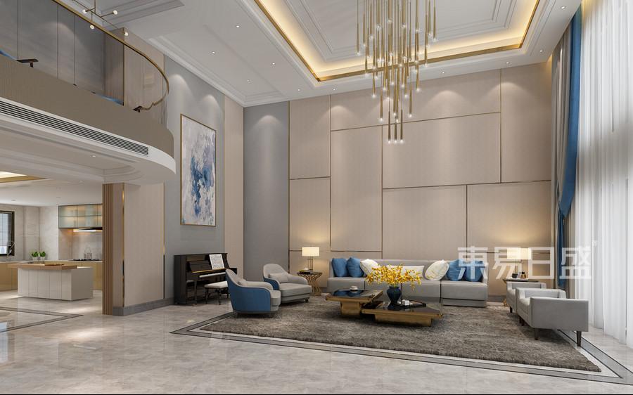 顺德碧桂园凤凰湾现代轻奢复式楼客厅沙发背景墙装修效果图