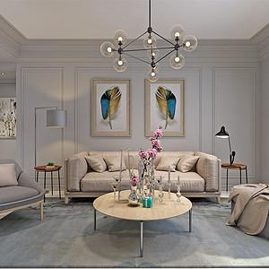 简美-客厅沙发背景墙