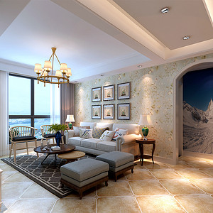 陇能家园-126平米-现代美式风格装修案例效果图
