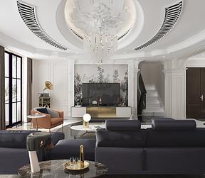 法式简约客厅电视机背景效果图
