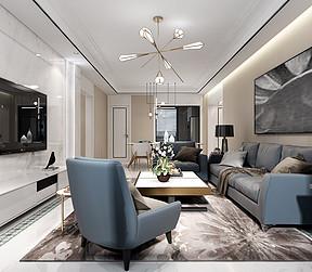 中海广场现代新极简风格客厅装修效果图